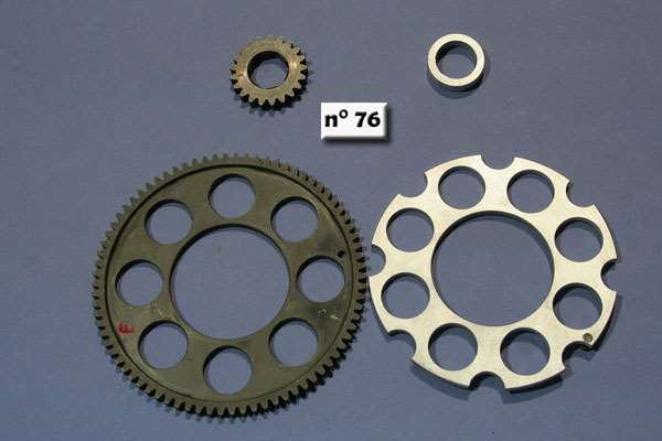 "Gears for primary trasmission (7mm) and the spacers ""ergal"""